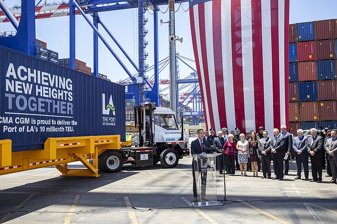 Los Angeles Mayor Eric Garcetti speaks at the Port of L.A. on June 10.
