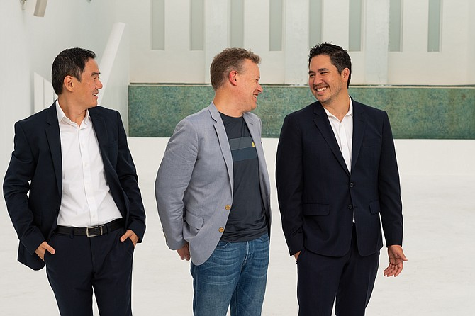 OneOf co-founders (from left) Lin Dai, Joshua James and Adam Fell.