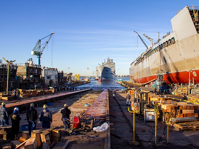 In January, General Dynamics NASSCO launched the future USNS John Lewis (T-AO 205), the first of six vessels in the John Lewis-class fleet oiler program designed to support the U.S. Navy. Photo Courtesy of General Dynamics NASSCO.