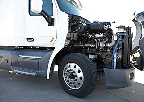 A big rig truck shows off its novel opposed-piston diesel engine developed by Sorrento Valley-based Achates Power. Photo courtesy of Achates Power.