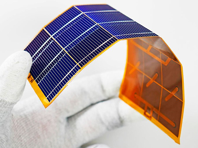 mPower's DragonSCALES solar material, shown here, includes tiny cells about the width of a human hair that are woven into a flexible, lightweight mesh. Photo courtesy of mPower.