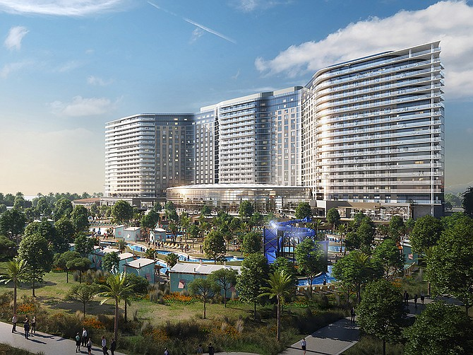 The Gaylord Pacific Resort will offer up to 1,600 hotel rooms and amenities such as restaurant/bar/lounge, recreational facilities, a spa, a pool with a lazy river, bike and boat rentals and more. Rendering Courtesy of Chula Vista Bayfront Project.