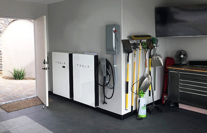 A residential battery storage installation.