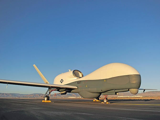 The RQ-4A Global Hawk Broad Area Maritime Surveillance – Demonstrator aircraft is a product of Northrop Grumman, and is still operating. It was the precursor to the Navy's MQ-4C Triton. The programs are based in Rancho Bernardo. Photo courtesy of Northrop Grumman Corp.