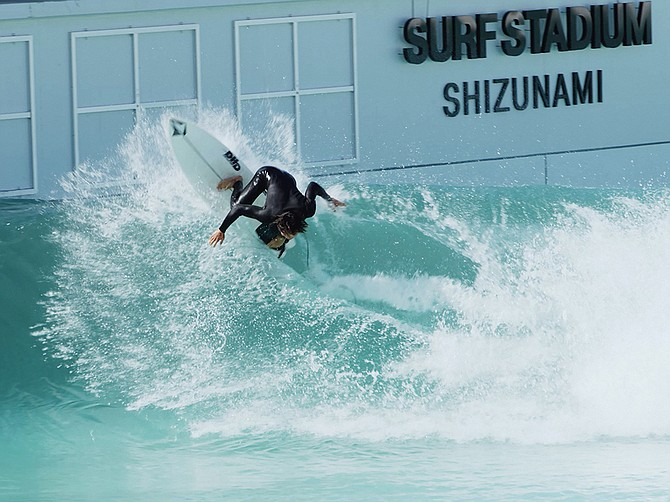 Pro surfer Taichi Wakita negotiates one of the first waves generated by the PerfectSwell facility in Shizunami, Japan. Olympic surfers are expected to train at the facility. Photo courtesy of American Wave Machines.