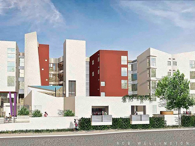Mid-City apartment project will provide housing for seniors and low income families. Rendering courtesy of Rob Quigley.