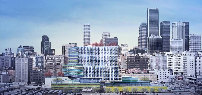 A rendering of the 12-story multifamily development proposed for the site of the Southern California Flower Market.