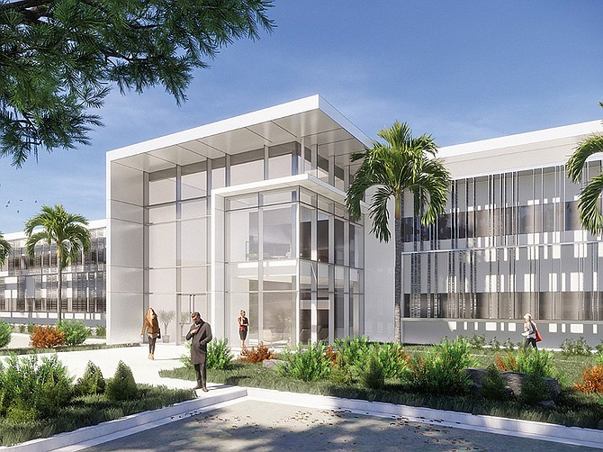 A Torrey Pines Office Building was renovated with a wide open look for life science tenants. Rendering courtesy of AVRP Skyport.