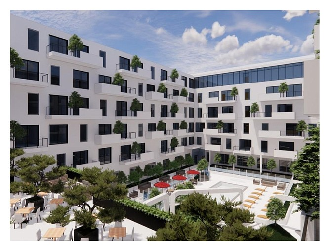 Rendering of proposed senior living facility at 17500 Burbank Blvd. in Encino.