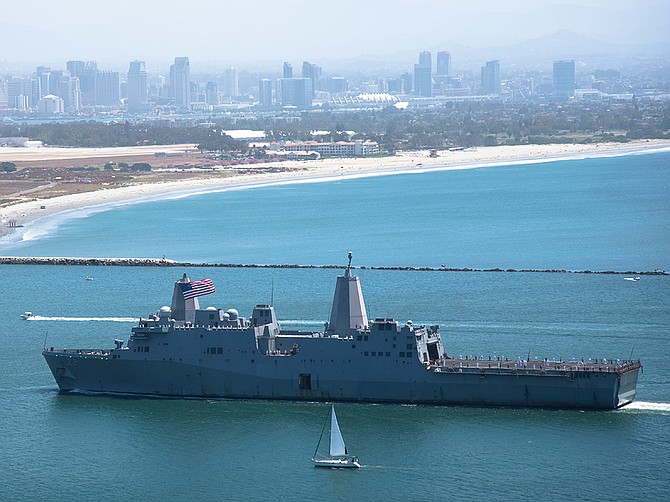 The amphibious transport dock ship USS San Diego returns to its namesake city on May 23 after a deployment. BAE Systems is scheduled to perform a variety of work on the ship in 2021 and 2022 under a recently awarded contract. Photo courtesy of U.S. Navy.