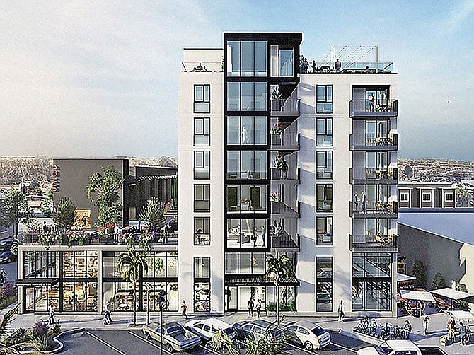 A National City apartment and office project designed by the Miller Hull Partnership aims to be carbon neutral. Rendering courtesy of the Miller Hull Partnership.