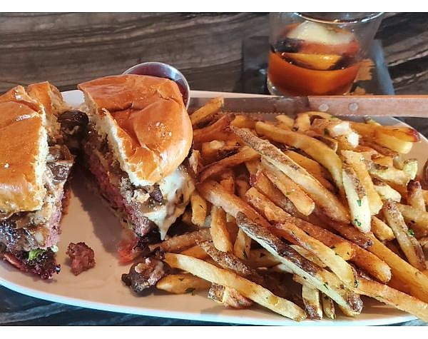 Olea's burger and fries