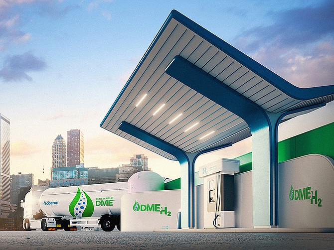 Rendering courtesy of Oberon Fuels An artist's rendering shows how the hydrogen filling station of the future might look if it uses technology jointly being developed by Oberon Fuels and Los Alamos National Laboratory.