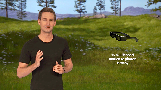 Snap's Evan Spiegel demonstrates Spectacles in May.