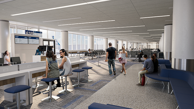 Alaska Airlines is overseeing renovations to Terminal 6's gate and lounge areas.