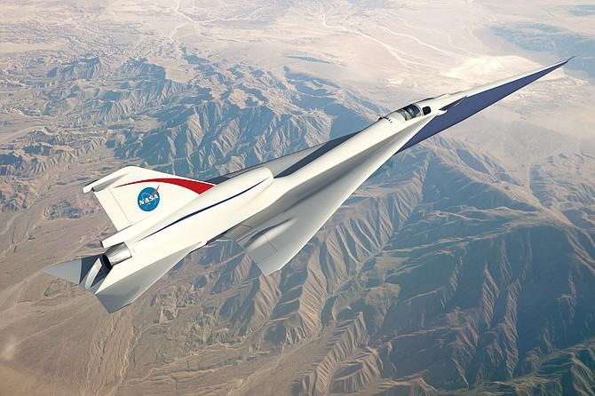 Airborne: Rendering of X-59 over desert.