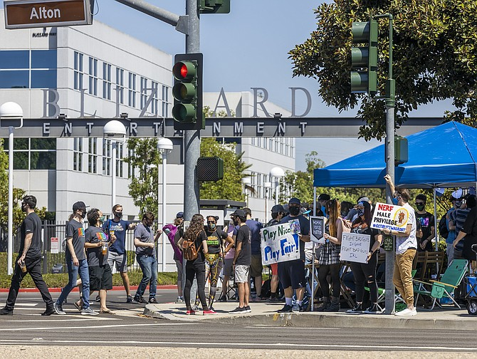 Several hundred Activision Blizzard employees in Irvine staged a walkout on July 28, which they said was in response to company leadership and a lawsuit highlighting alleged harassment, inequality and more.