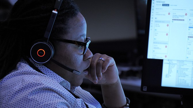 A security member with Equifax Inc.'s Global Fusion Center in Atlanta.