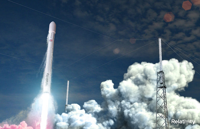 A rendering of a Relativity launch.