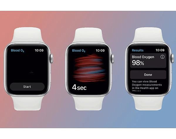 Apple Watch Series 6 includes a blood oxygen sensor and a related app