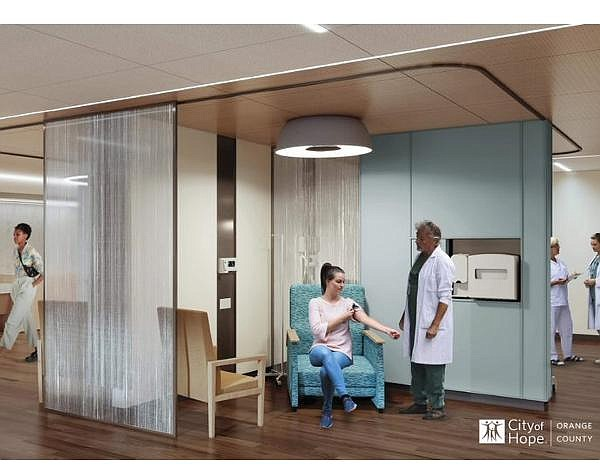 Rendering of cancer treatment area at Lennar Foundation Cancer Center
