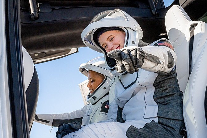 Inspiration4 crew members Sian Proctor (left) and Haley Arceneaux (right) ahead of launch.