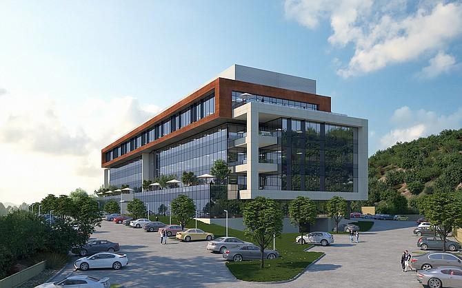 Rendering courtesy of Delawie. Healthpeak Properties based in Irvine is building a $58.2 million life science project in Sorrento Mesa.