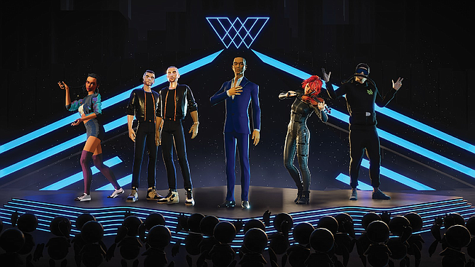 WaveXR teams up with performers, such as John Legend (center), to create avatars for livestream events.