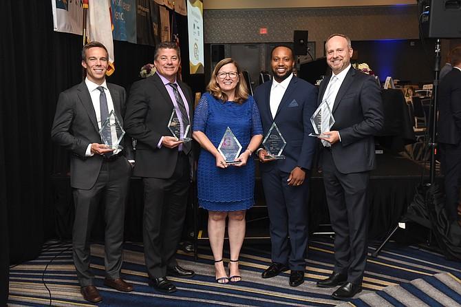 CFO winners (left to right): Brandon Kerns, Landmark Health, Mike Henry, Tilly's, Tracy Branson, Orange County Community Foundation, Floyd Amuchie, Virgin Galactic and Adam Townsend, VIZIO Inc.