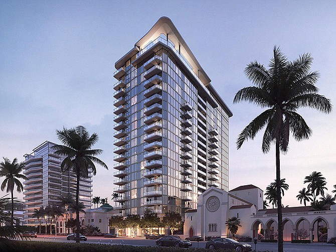 Rendering courtesy of Greystar A 20-story apartment tower is under construction in Bankers Hill
