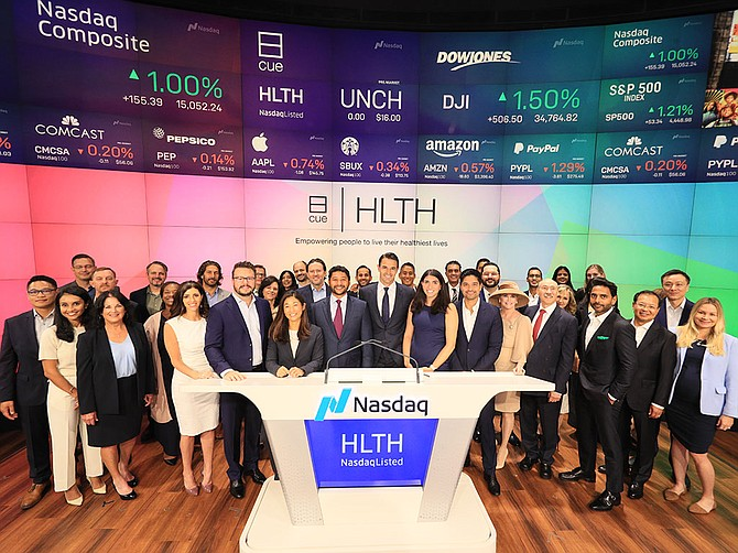 """Photo Courtesy of Cue Health San Diego-based Cue Health listed its stock on the Nasdaq Global Select Market under the ticker """"HLTH"""" on Sept. 24."""