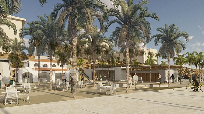 Safdie Rabines Architects has designed a series of improvement to portions of Oceanside's beach area, including and renovated plaza and new grand staircase. Rendering courtesy of Safdie Rabines.