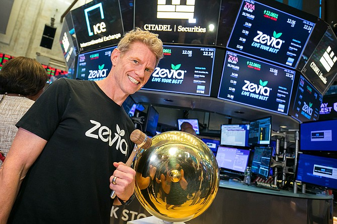 Clang: Zevia Chief Executive Paddy Spence rings opening bell.