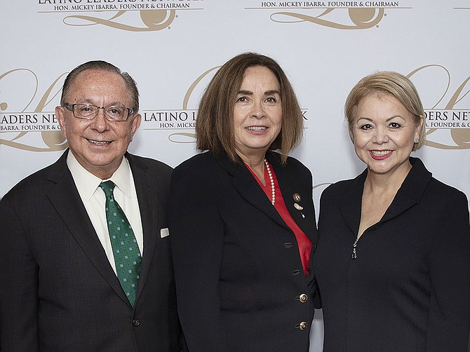 Left to right, Mickey Ibarra, president and chairman of the Latino Leaders Network, presented awards to Dr. Adela de la Torre, president of San Diego State University, and Lidia S. Martinez, former manager of community outreach at Southwest Airlines, at the 64th Latino Leaders Luncheon Series, held in San Diego last month. Photo Courtesy of Latino Leaders Network.