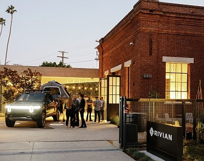 Rivian posted photos on its site of its first-ever Hub, located at 660 Venice Boulevard in Venice