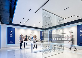 Photo courtesy of ASML ASML illustrates scientific concepts related to the production of microchips at its on-campus Experience Center. Completed during the pandemic, the center has 10 hands-on exhibits. It is meant to host students, partners, suppliers and new hires.