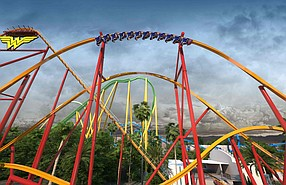 Rendering of Wonder Woman Flight of Courage at Six Flags Magic Mountain in Valencia.